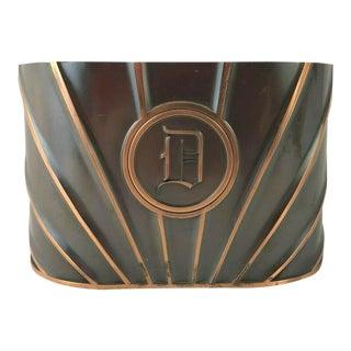 Vintage Art Deco Copper Cachepot With Removable Monogram & Felt Base For Sale