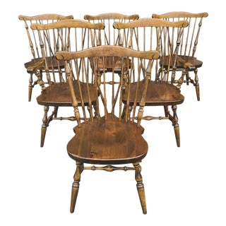 Ethan Allen Old Tavern Antique Pine Duxbury Fan Back Windsor Dining Chairs - Set of 6 For Sale