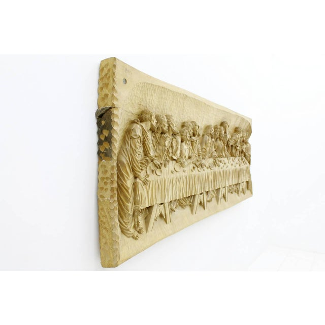 """Mid-Century Modern """"The Last Supper"""" Wood Carving Relief Masterpiece by Emrich Mussner, 1976 For Sale - Image 3 of 11"""