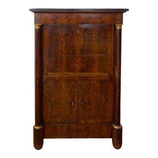 19th C. French Empire Flame Mahogany a Abattant With Gilt Bronze Mounts & Noir Marble Top For Sale