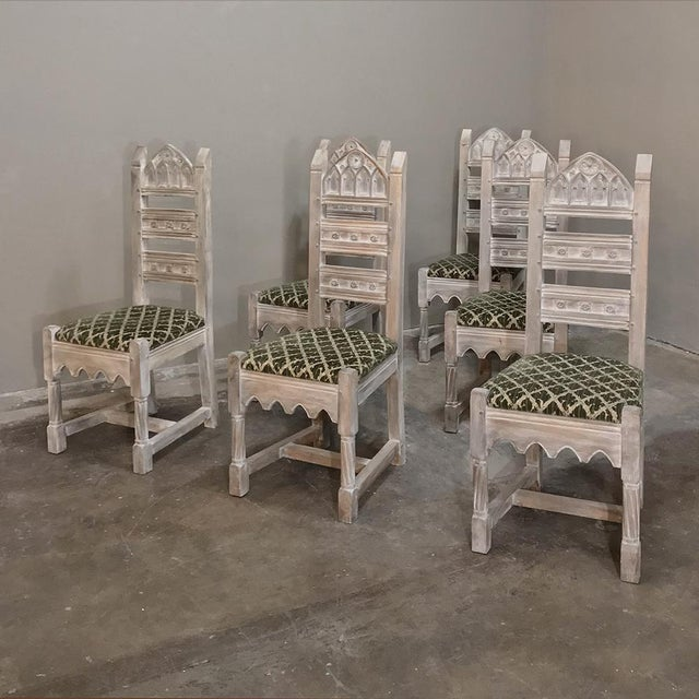 Early 20th Century Early 20th Century Antique Rustic Gothic Stripped Dining Chairs- Set of 6 For Sale - Image 5 of 12
