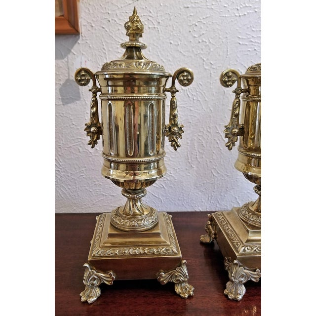 Late 19th Century Pair of 19c French Neoclassical Style Brass Garnitures For Sale - Image 5 of 13