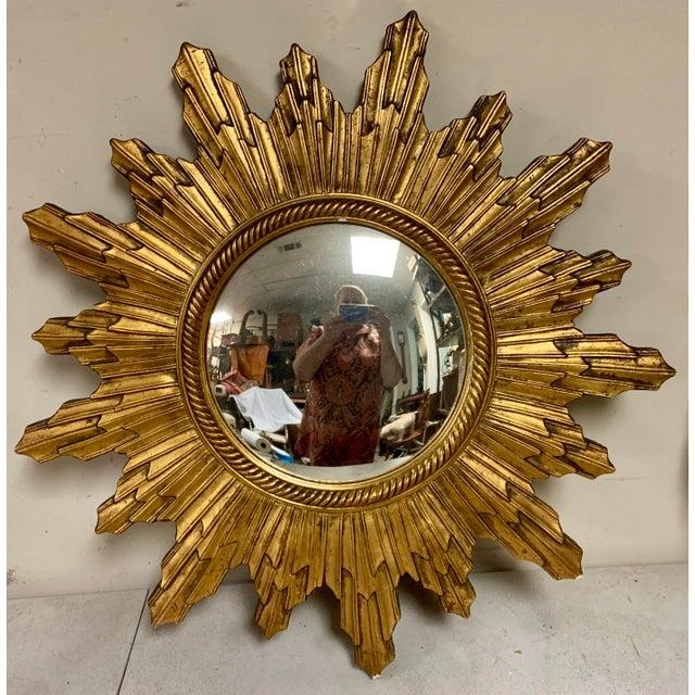 Carved Italian Hollywood Regency Sunburst Mirror For Sale In Atlanta - Image 6 of 6