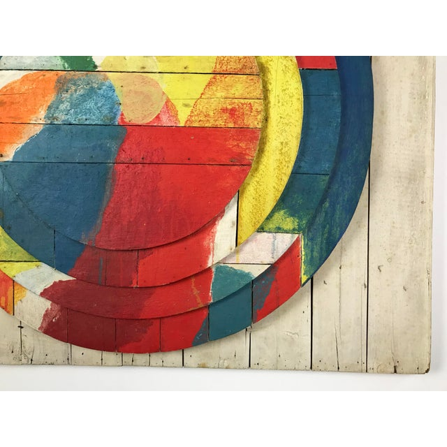 "Wood Large Modernist Abstract Relief ""Sun lI"" Jef Diederen 1965 Acrylic on Wood For Sale - Image 7 of 13"