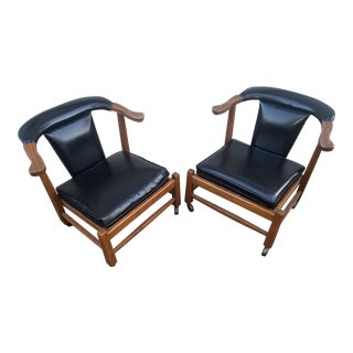 1960s Brandt Ranch Oak and Black Leather Side Chairs - a Pair For Sale