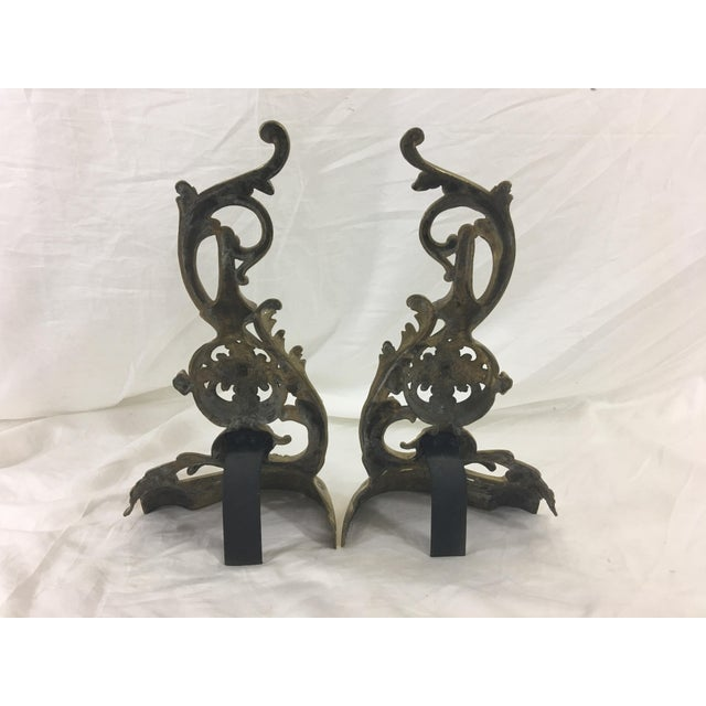 Late 19th Century 19th Century French Napoleon III Bronze Andirons - a Pair For Sale - Image 5 of 10