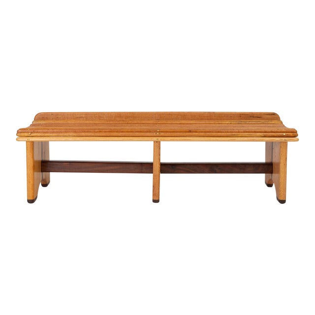 Andrew Stauss Studio Craft Bench in Oak and Walnut For Sale