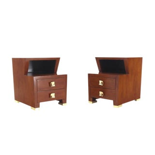 Pair of Art Deco Burl Wood End Tables Nightstands with Brass Hardware Pulls For Sale