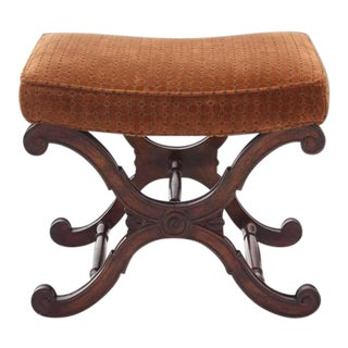 Vintage Mid Century X-Base Decorative Bench For Sale