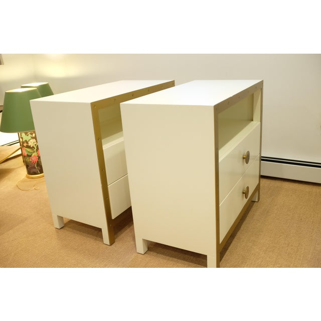 2010s Lillian August Cream & Gold Chests/Nightstands - a Pair For Sale - Image 5 of 12