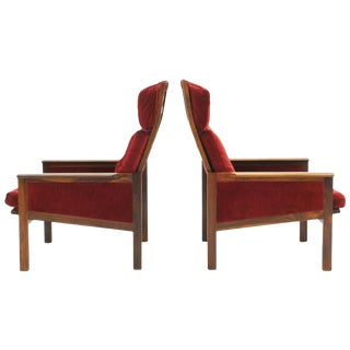 Pair of High Back Lounge Chairs by Illum Wikkelso, Rosewood and Red Velvet For Sale