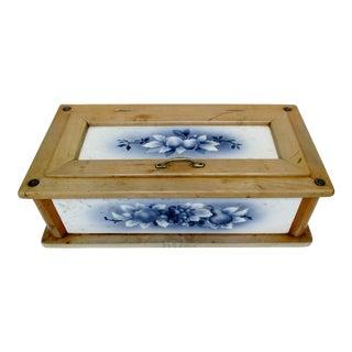 Antique Wood & Tile Bread Box For Sale