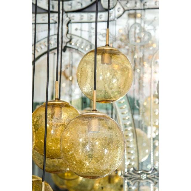 Contemporary Glass Globe Chandelier by Limburg Glashütte, Germany For Sale - Image 3 of 6