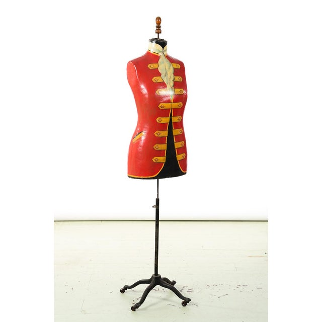 19th century Antique Mannequin Painted Torso Form w/Cast Iron stand For Sale - Image 9 of 9