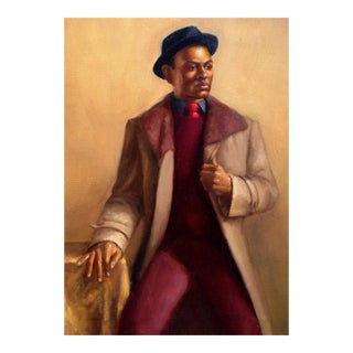 African American Man in Coat & Hat Oil Portrait Painting