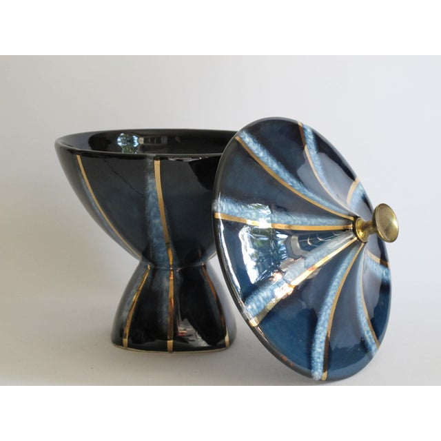 Navy & Gold Lidded Candy Dish - Image 5 of 5