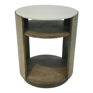 Caracole Fusion Drum Wood and Frosted Glass End Table For Sale