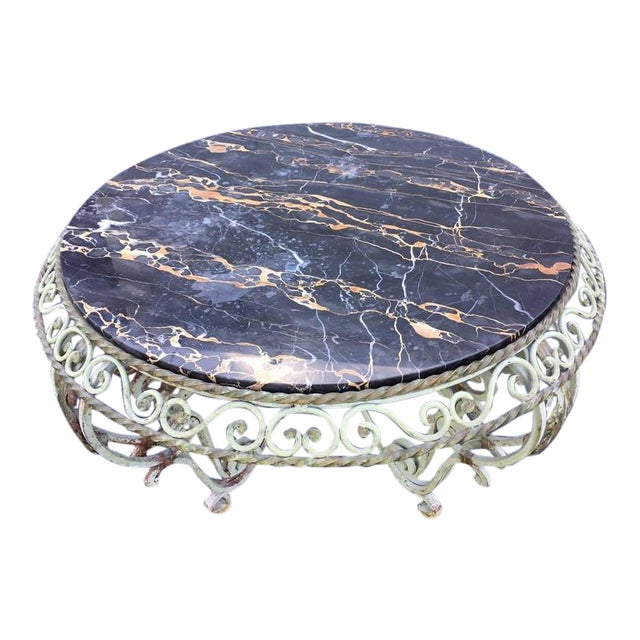 Painted Wrought Iron Marble-Top Coffee Table For Sale