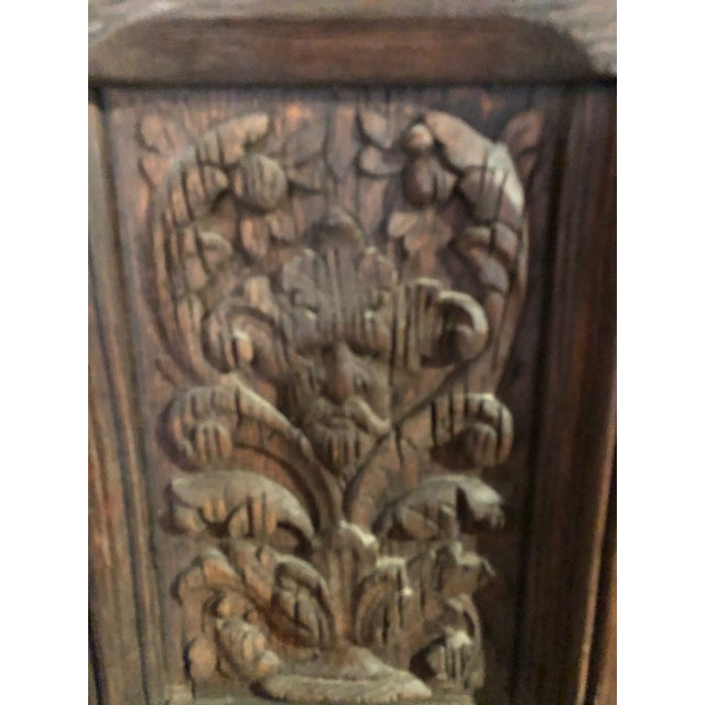 17th Century English Hand Carved Dark Oak Door For Sale - Image 4 of 6