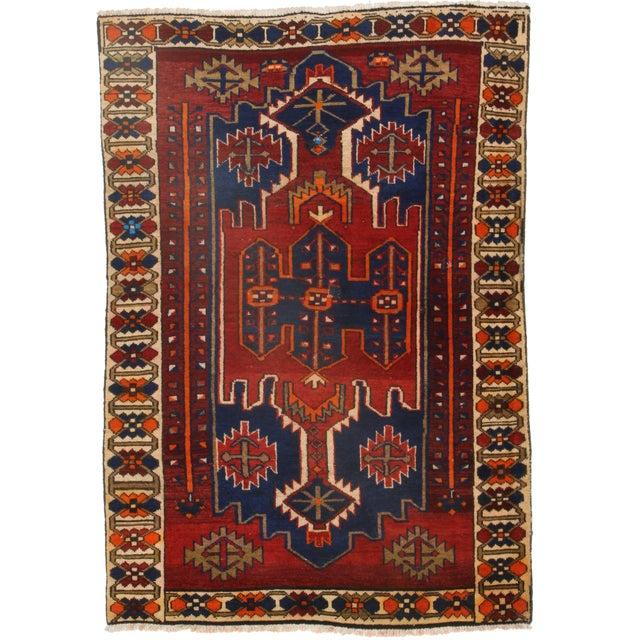RugsinDallas Persian Hamadan Wool Rug - 4′5″ × 6′5″ For Sale