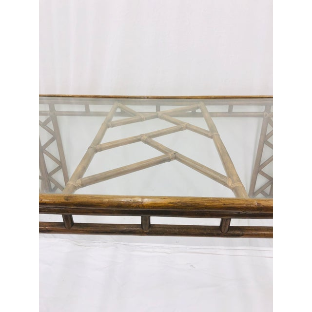 Vintage Chinese Chippendale Rattan & Glass Top Table For Sale In Raleigh - Image 6 of 10