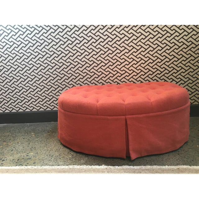 Traditional Orange Oval Tufted Ottoman For Sale - Image 3 of 7
