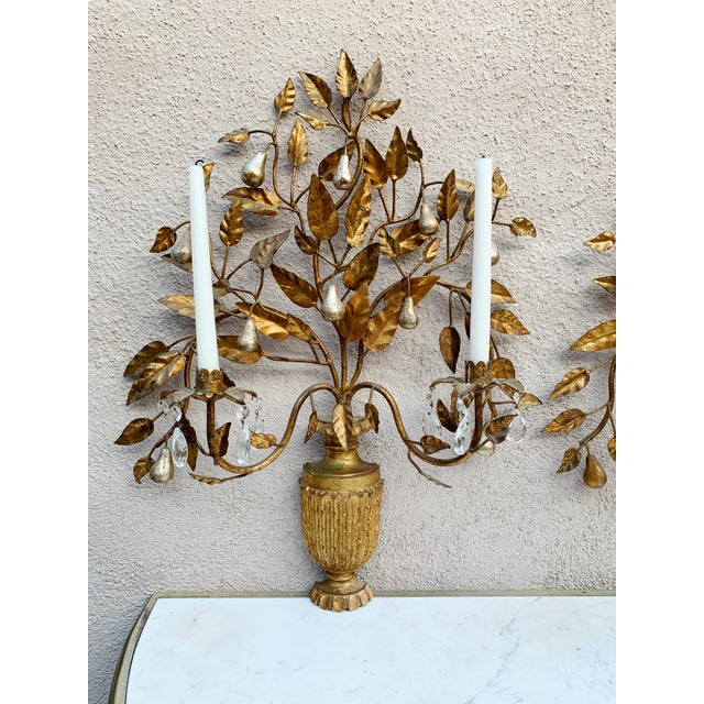 Hollywood Regency Giltwood Wall Sconces - a Pair For Sale - Image 9 of 12
