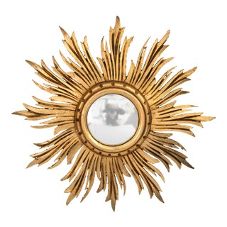 Antique French Giltwood Sunburst Convex Mirror For Sale
