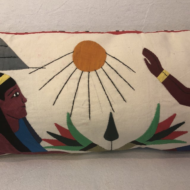Contemporary Vintage Egyptian Appliqué Wall Art Custom Pillow For Sale - Image 3 of 7