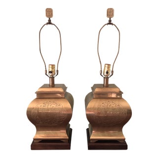 Frederick Cooper Etched Brass Chinoiserie Pagoda Table Lamps - a Pair For Sale