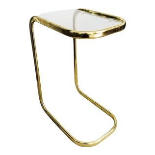 Vintage Brass Pill Shaped Cantilever Side Table For Sale