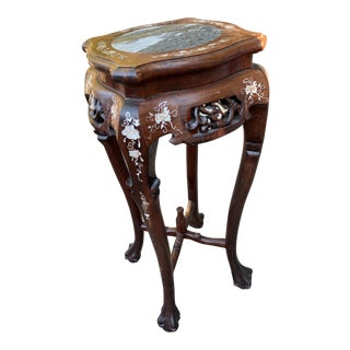 Antique Asian Rosewood Pedestal With Mother of Pearl Inlay For Sale