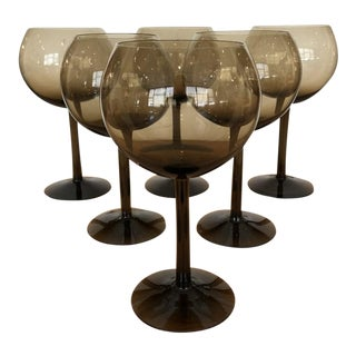 Mid-Century Smoked Glass Wine Glasses - Set of Six For Sale