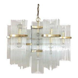 Gaetano Sciolari for Lightolier Brass and Glass Rod Chandelier