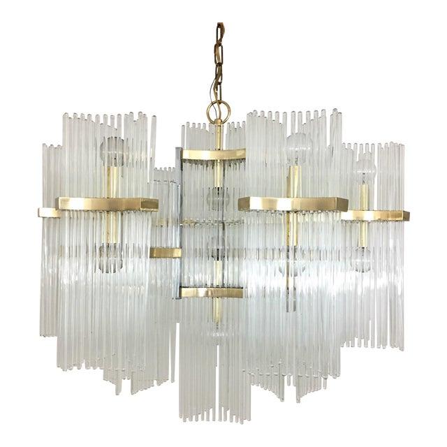 Gaetano sciolari for lightolier brass and glass rod chandelier gaetano sciolari for lightolier brass and glass rod chandelier audiocablefo
