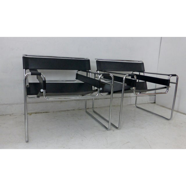 Marcel Breuer Black Leather Chrome Wassily Chairs - A Pair - Image 2 of 10
