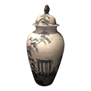 Deborah Sears Isis Ceramic Grand Tour Black & White Wigstand Lidded Vase For Sale