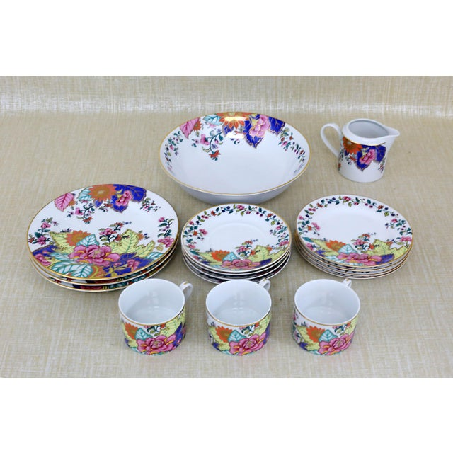 "A colorful, vintage set of ""Tobacco Leaf"" dishes by Horchow. Excellent condition. Serving bowl: 2 1/2"" x 9 1/4"" diameter..."