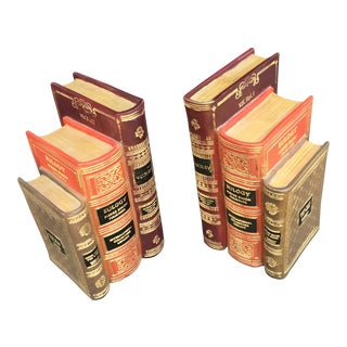 Vintage Faux Books Classic Bookends - A Pair For Sale