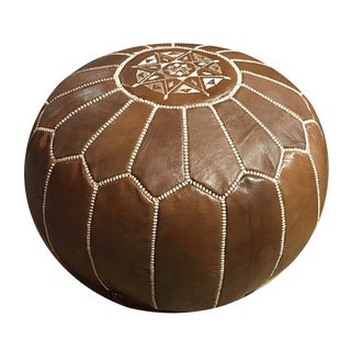 Moroccan Leather Brown Pouf by Mpw Plaza For Sale