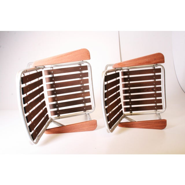 Mid Century Redwood Aluminum Folding Patio Chairs - A Pair For Sale - Image 11 of 11
