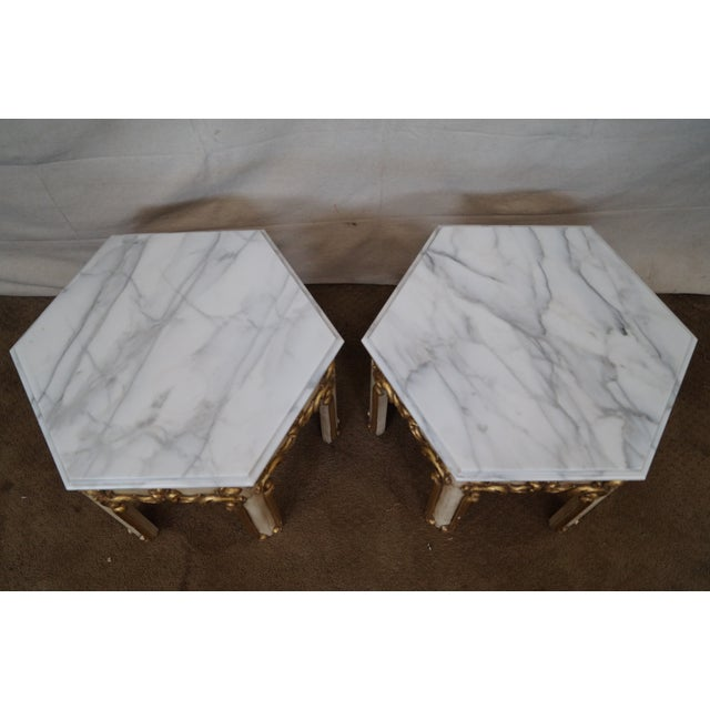 Hollywood Regency Partial Gilt Side Tables - Pair - Image 8 of 10