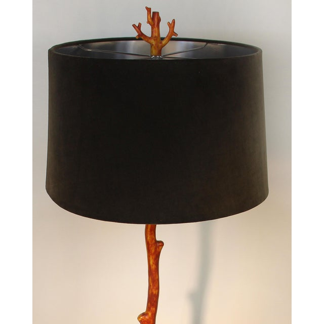 Offered for sale is a decorative faux coral floor lamp with a Lucite base. This lamp accommodates a standard bulb up to...