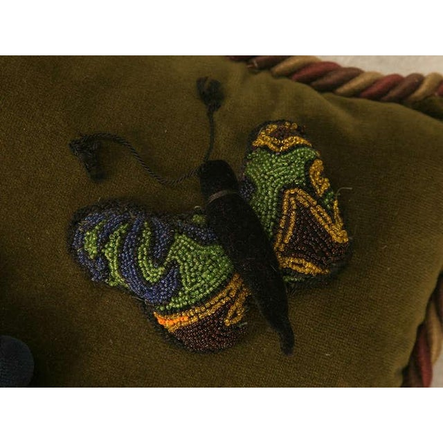 English Vintage English Grapes & Butterfly Motif Velvet Pillow For Sale - Image 3 of 11