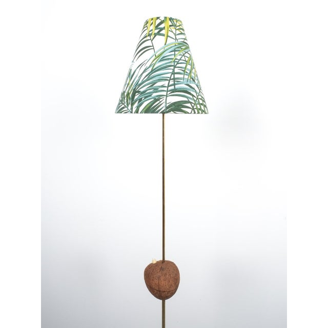 Gold Coconut Brass Bamboo Floor Lamp Attr. Kalmar, Austria 1950 For Sale - Image 8 of 11