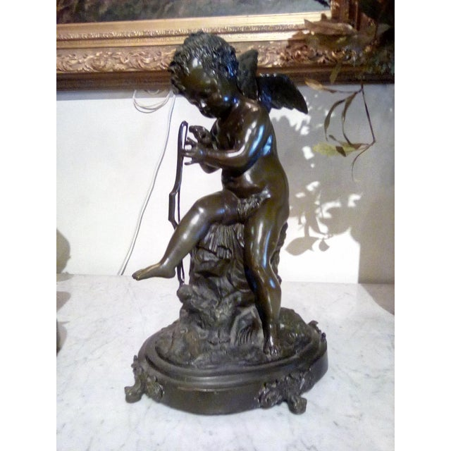 Cherubs Bronze Angels Figurines - a Pair For Sale - Image 4 of 7