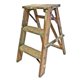 Vintage Shabby Wood 2 Step Ladder