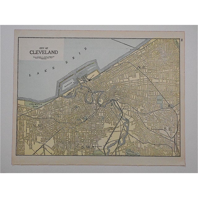 This late 19th century lithograph (offset) is one of a series depicting U.S. cities. A partial map is on the reverse....