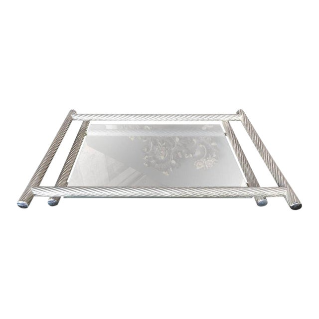 Italian Rectangular Tray with Spiral Silver Frame, 1960s For Sale