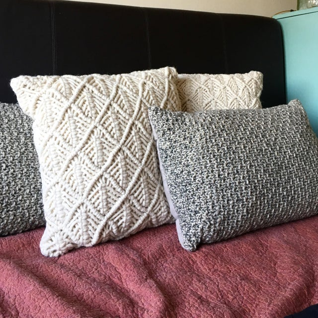 Knotted Wool Pillows, Warm Grey Decor Set/2 - Image 8 of 8